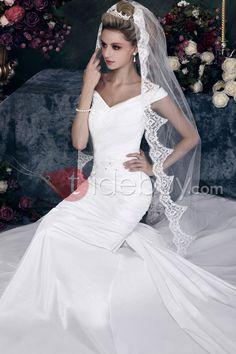 ファッション1層チャペルウェディング結婚式ベール花柄エッジ