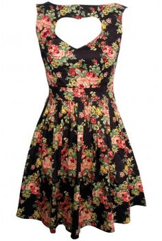Vintage Floral Heart Cut Out Dres