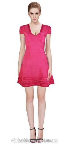 f5e4fc214dbbc8 Herve Leger Flared bandage dresses red v neck sale cheap from China Herve  Leger Wholesale shop