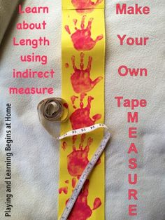 Make your own Tape Measure for indirect measurement activities. Maths Eyfs, Eyfs Activities, Measurement Activities, Math Measurement, Preschool Math, Kindergarten Activities, Teaching Math, Preschool Layout, Measurement Kindergarten