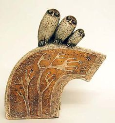 Three Owls with Windswept Trees - Stoneware Sculpture by Blandine Anderson