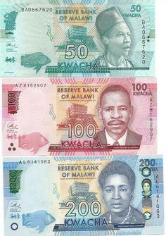 3 Billetes de Malawi 50-100-200 Kwachas año 2016 UNC