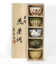 Amazon.com - Japanese Teacup Gift Set in Wooden Gift Box with 5 Assorted Designs - Japanese Decor
