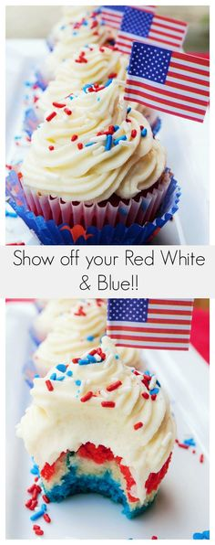 Celebrate July 4th with these easy to make AMAZING Red White & Blue Cupcakes - http://www.packmomma.com/red-white-blue-patriotic-cupcakes/