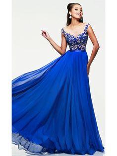 A-Line Long Blue Lace Chiffon Prom Formal Evening Dresses 99501110