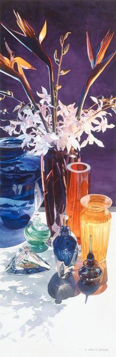 """Slice of Paradise"" Watercolor by Paul Jackson ~colored glass Watercolor Artists, Watercolor Flowers, Watercolor Paintings, Watercolors, Floral Paintings, Paul Jackson, Expressive Art, Still Life Art, Beautiful Paintings"