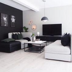 Oslo Bedroom : Final look - Only Deco Love Black And White Living Room, Living Room Grey, Living Room Modern, Home Living Room, Living Room Decor, Bedroom Decor, Dining Room, Interior Design Living Room Warm, Home Room Design
