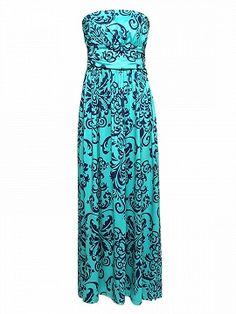 Shop Green Strapless Floral Print Ruched Detail Maxi Dress from choies.com .Free shipping Worldwide.$17.9