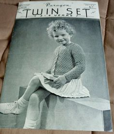 Child's Cardigan & Top Paragon 94 vintage knitting pattern 3 ply yarn #Paragon