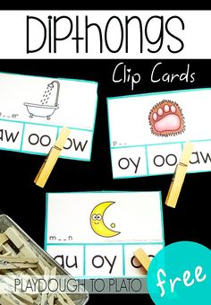 Free dipthong clip cards! Fun literacy center or word work activity for first grade or second grade.