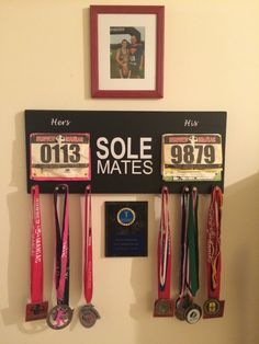 "His and hers race or run bib and metal display. DIY ""Sole Mates"""