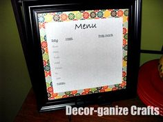Decor-ganize Crafts: Menu and Cleaning Chart
