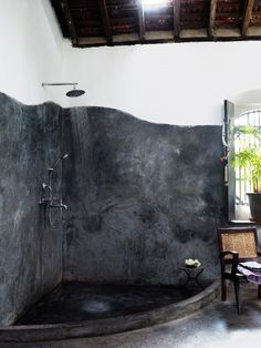 black concrete shower