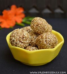 Iron rich gluten free snack.  Indian sesame seed candy with sesame seeds, jaggery (iron rich sweetener made from boiled sugar cane, used in India).