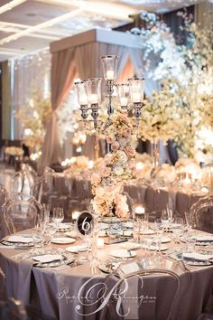 Drop-dead gorgeous luxury blush ballroom wedding reception; Via Rachel A. Clingen Wedding & Event Design
