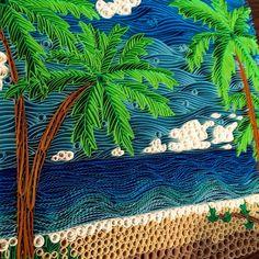 Quilled Palm Tree Beach Nature Wall Art by aHawaiianSeattleite
