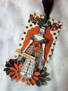 HalloweenWitch+Paper+Doll+Articulated+Mixed+Media+by+ParisPluie,+$17.00