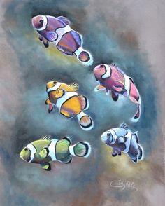 poissons clowns au pastel sec par cindy barillet Pastel Drawing, Pastel Art, Watercolor Illustration, Watercolor Paintings, Pastel Paintings, Waterfall Paintings, Fish Drawings, Fish Art, Tropical Fish