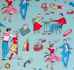 Vintage JUVENILE Birthday Gift Wrap  by MidCenturyAddiction