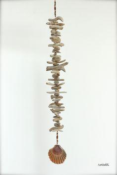 Guirlande bois flotté pendentif coquillage marron orange esprit voyage nature déco zen : Accessoires de maison par artistik