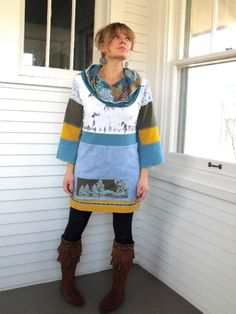 Upcycled Clothing Eco patchwork SHIRTcowl neck tunic 3/4  by zasra, $75.00