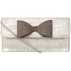 Metallic glitter bow clutch ($27) ❤ liked on Polyvore