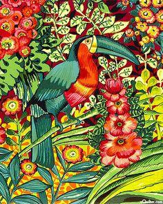 Brazilia - Toucan Jungle - Leaf Green by latonya Motif Tropical, Tropical Colors, Tropical Art, Tropical Birds, Textile Patterns, Print Patterns, Cool Works, One Block Wonder, Bird Theme