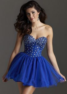 Clarisse 2212 Royal Blue Sparkly Beaded Short Dress with a Sweetheart Neckline - RissyRoos.com