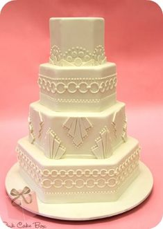 Art Deco Wedding Cake - Pink Cake Box. The 20's were big for the Art Deco movement.