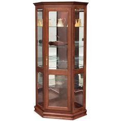 Amish Corner Curio Cabinet A gorgeous corner fit. Custom curio with 3 adjustable glass shelves, mirrored back and solid wood. Choose wood, stain and more. Made in Amish country. #curiocabinets Corner Hutch, Led Puck Lights, Furniture Showroom, Custom Furniture, Glass Shelves, Amish Furniture, Wall Spaces, Solid Wood, Quarter Sawn White Oak