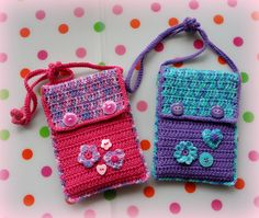 Made by Marian. Bags for Nintendo DS for my dear nieces Ilse and Jasmijn! I used a free pattern from Drops for the mobile phone, I've adjusted to sizes of the DS. See for the Drops pattern my board 'Crochet - Mobile phone bags, tablet covers etc.'