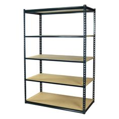Storage Concepts D x W x H Steel Freestanding Shelving Unit (NSF Safety Listing) at Lowe's. This boltless shelving unit has 5 shelves. The top and the bottom shelves feature double rivet-z beams which allow the decking to rest inside the beam and Boltless Shelving, Steel Shelving, Garage Shelving, Shelves, Garage Storage, Attic Storage, Declutter Your Home, Organizing Your Home, Closets