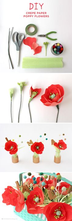 Create your own DIY crepe paper poppy flowers for a pop of color for an Easter basket or a fun Spring craft.