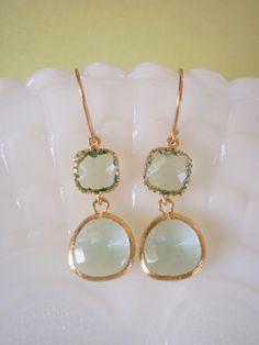 Mint Green Earrings, Gold Earrings, Bridesmaid Earrings, Best Friend, Birthday, Anniversary, Valentine