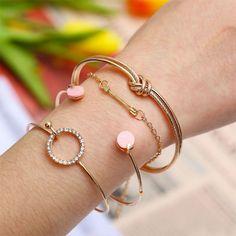 Personnalité Simple Mignon Noué Cercle Diamant Flèche Bracelet Ouvert Quatre Pièces #bracelet
