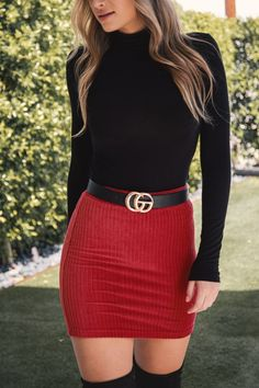Turn the cooler seasons up a notch with the Talk To Me Red Mini Skirt. With it's giving yet fitted ribbed material and flattering high-waisted fit it will sure to be a staple in your closet! Cute Casual Outfits, Fall Outfits, Casual Dresses, Red Skirt Outfits, Summer Dresses, Red Skirts, Mini Skirts, Denim Midi Dress, Dress Skirt