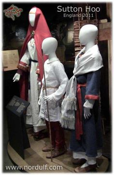 Reproductions of Anglo-Saxon costume at the Sutton Hoo Museum. Wulfheodenas on Facebook.