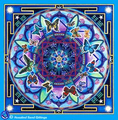 Butterflies on the Sea of Life - the flood of joy is abroad (Tagore). Handpainted mandala by Rosalind Gittings