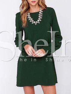 Army Green Long Sleeve Casual Dress 14.99