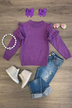 Purple Ruffle Sleeve Sweater - Sparkle In Pink Little Girl Outfits, Toddler Outfits, Kids Outfits, Cute Outfits, Toddler Girl Style, Toddler Fashion, Kids Fashion, Purple Outfits, Kids Tops