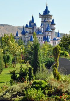 Sazova Castle, Eskişehir, Turkey (Fable by deviaria). The blue roof makes it look like Cinderella's Castle at Disney World. Places Around The World, Oh The Places You'll Go, Places To Travel, Places To Visit, Around The Worlds, Beautiful Castles, Beautiful Buildings, Beautiful World, Beautiful Places