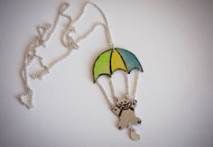 Long colorful necklace with kitten and parachute by SilviaWithLove, €24.00