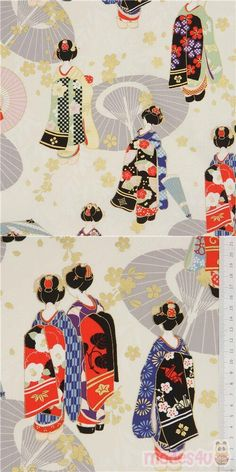 cream cotton sheeting fabric with geishas, sakura flower etc., with metallic gold embellishment, Material: 100% cotton, Fabric Type: smooth cotton printed sheeting fabric #Cotton #People #Metallic #JapaneseFabrics