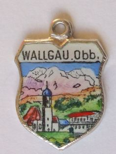 Wallgau OBB Vintage Silver Enamel Travel Charm | eBay