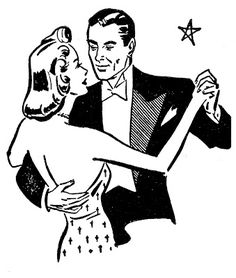 Clipart Retro Black And White Couple Dancing Together - Royalty Free Vector Illustration by Prawny Vintage Retro Images, Vintage Images, Art Images, Vintage Designs, Couples Vintage, Stencils, Tea Party Hats, Graphics Fairy, Illustrations