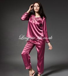 Fabric: 100% Mulberry Silk  Three color for your choice.  This is a two piece lingerie set with upper nightwear and down nightwear. Pure silk maritail is comforable for wearing and do some housework. Embroidery and trim comes with exotic ringtones feeling.     Wine Red             Pink          Light Pink