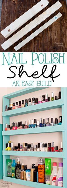 Nail Polish Shelf an Easy Build great way to organize your bathroom.  #PowerToolOrganization
