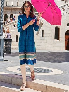 Equalize Blue colour Reguler Wear Printted Cotton Fancy Kurti with 3 4th  Sleeves e9df078d1