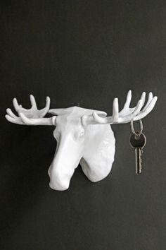 White Moose Wall Hook