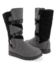 Muk Luks Gray & Black Tally Boot - Women   Best Price and Reviews   Zulily Cold Weather Boots, Criss Cross, Ugg Boots, Amazing Women, Memory Foam, Uggs, Gray, Cute, Shoes